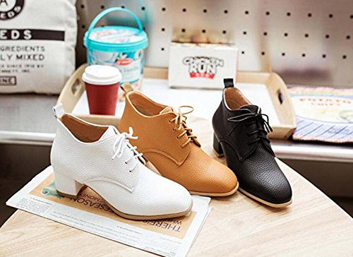 Chelsea Boot Casual 5cm Winter White Round Size Chunkly Toe Court 4 Shoelace Heel 34 Shoes Pump New Leather Shoes Roma Shoes Eu 44 Ankle Women Boots 2017 Auturm ZqwT5UpA