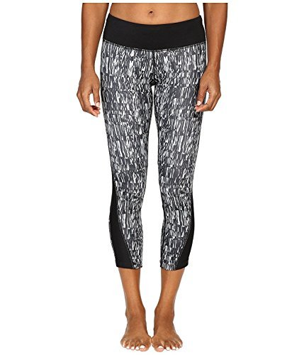 NIKE Women's Power Dri-Fit Graphic Running Crop 821777 010 (LG X 22.5, Black White Silver) Nike Yoga Block