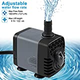 Ankway Upgraded 160GPH(600L/H, 10W) Submersible Water Pump with Vinyl Tubing(39inch/1M) Humanized Rotation Switch with 2 Nozzles for Pond, Aquarium, Fish Tank Fountain, with 5.9ft (1.8M) Power Cord