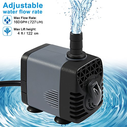 Ankway Upgraded 160GPH(600L/H, 10W) Submersible Water Pump with Vinyl Tubing(39inch/1M) Humanized Rotation Switch with 2 Nozzles for Pond, Aquarium, Fish Tank Fountain, with 5.9ft (1.8M) Power Cord by Ankway