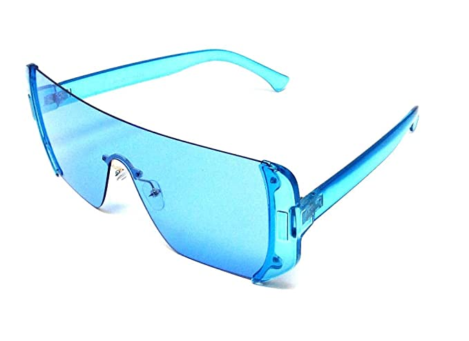 7bb9624952 Amazon.com: Malibu Rimless Full Shield Mono Lens Sunglasses (Blue ...
