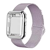 YC YANCH Compatible with Apple Watch Band 40mm with Case, Stainless Steel Mesh Milanese Loop Band with Apple Watch Screen Protector Compatible with iWatch Apple Watch Series 1/2/3/4 (40mm Lavender)