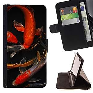 "Bright-Giant (Koi Goldfish Estanque Dorado Rojo Negro"") Modelo Colorido Cuero Carpeta Tirón Caso Cubierta Piel Holster Funda Protección Para Apple iPhone 5C"