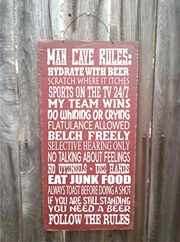 CELYCASY Man cave Rules Man cave Sign Man cave Decoration Man cave Gift Man cave Wall Decor Man cave Man cave Wall Decor 142 ()