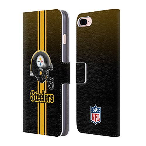 Price comparison product image Official NFL Helmet Pittsburgh Steelers Logo Leather Book Wallet Case Cover For Apple iPhone 7 Plus / 8 Plus