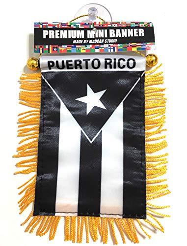 Puerto Rico Black Car Flag Small Puerto Rican Mini Banner Flag (Puerto Rico Black)