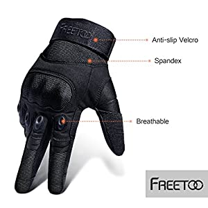 FREETOO Tactical Gloves Military Rubber Hard Knuckle Outdoor Gloves for Men Fit for Winter Cycling Motorcycle Hiking Camping Powersports Airsoft Paintball (Black Fullfinger Plus Velvet, M)