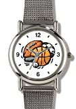 Basketball, Baseball, Football, Soccer Ball, Golf Ball, Puck - WATCHBUDDY ELITE Chrome-Plated Metal Alloy Watch with Metal Mesh Strap-Size-Small ( Standard Women's Size )