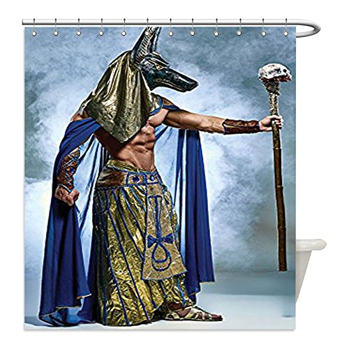 Diy Pharaoh Costume (Liguo88 Custom Waterproof Bathroom Shower Curtain Polyester Egyptian Decor Collection Ancient Egyptian Pharaoh with a Mask of Anubis Foggy Background Print Olive Green Blue Decorative bathroom)