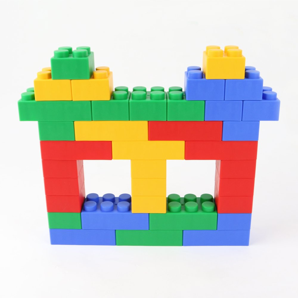 Non-Toxic and BPA-Free 12 pieces Developmental UNiPLAY Jumbo Multicolor Soft Building Blocks Plump Series Educational Creative Toy for Ages 3 Months and Up 2 Different Sizes of Blocks