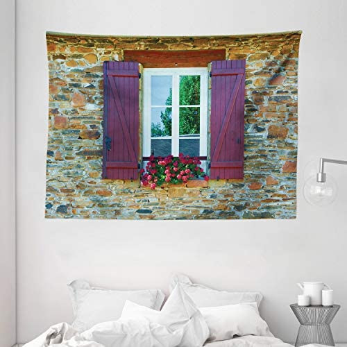 Ambesonne Country Tapestry, Brick House with Window Shutters and Flowers Mediterranean Style Print, Wide Wall Hanging for Bedroom Living Room Dorm, 80 X 60 , Maroon Brown