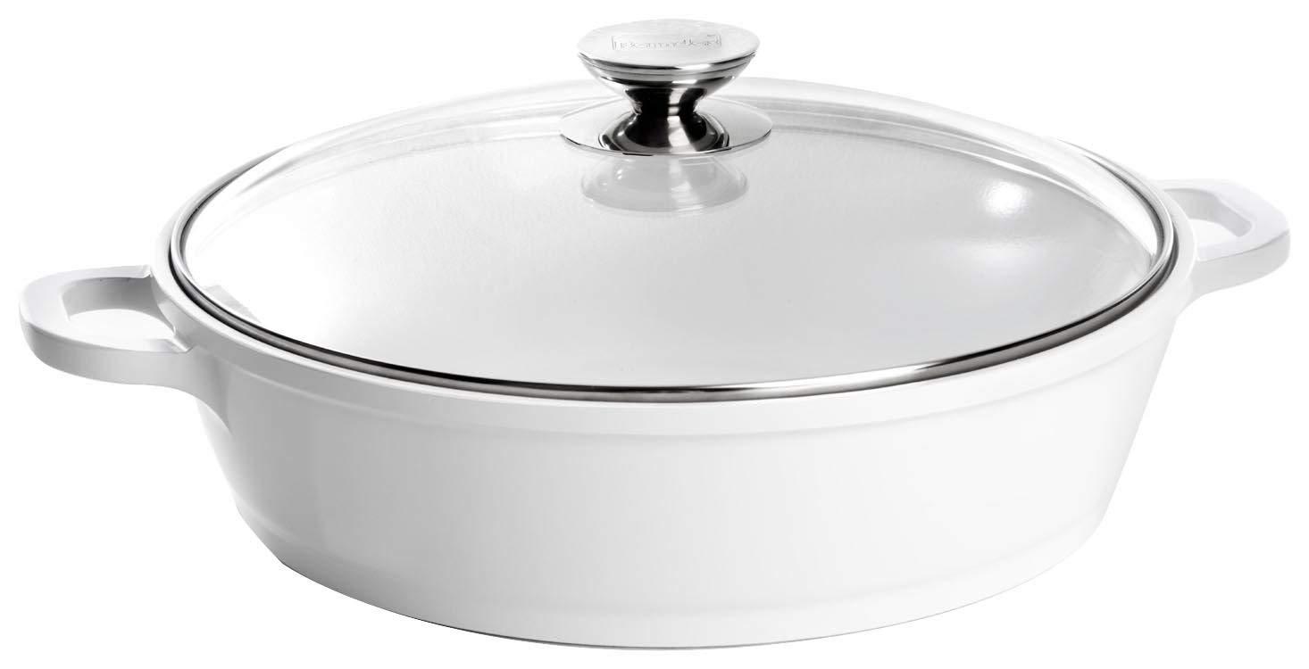 Berndes 032167 Vario Click Induction - Cacerola con tapa de cristal (aluminio revestido de cerámica, 28 cm, 3,8 L, apta para inducción), color blanco: ...