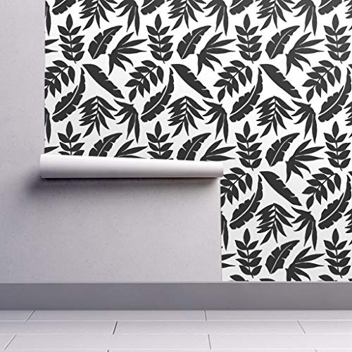 (Peel-and-Stick Removable Wallpaper - Black and White Tropical Leaves Jungle Decor Monochrome Palms Contrast by Thestylesafari - 24in x 108in Woven Textured Peel-and-Stick Removable Wallpaper Roll)