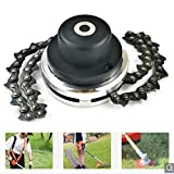 Chain Trimmer Head Lawn Mower,Multi-Function Durable Stainless Steel Chain Weed Eater Mowing Cutter Garden Backyard Agricultural Toolset with 2 Chain - Black