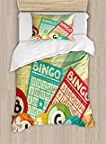 Ambesonne Vintage Duvet Cover Set Twin Size, Bingo Game with Ball and Cards Pop Art Stylized Lottery Hobby Celebration Theme, Decorative 2 Piece Bedding Set with 1 Pillow Sham, Multicolor