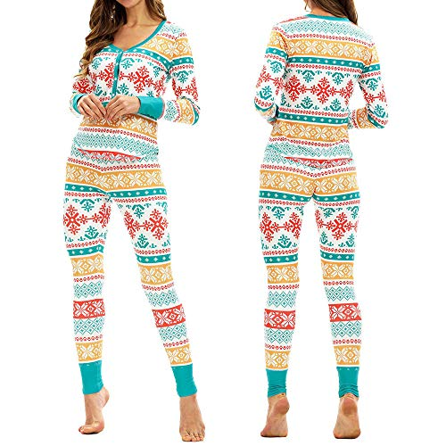 Franterd Christmas Clothes Sets Women Matching Snowflake Christmas Pajamas Set Xmas Button Top Blouse+Pants ()
