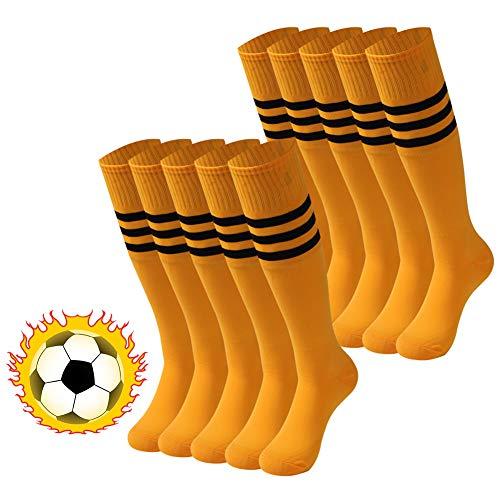 - saounisi Mens Soccer Socks,10 Pairs Knee High Socks Colorful Stripe Pattern Football Baseball Sports Tube Long Team Socks Size 9-13 Deep Yellow