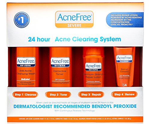 AcneFree 4 Step Severe Acne Treatment Kit with Benzoyl Peroxide Acne Face Wash, Toner, Benzoyl Peroxide 10% Lotion for Acne Spot Treatment, Retinol PM Complex (60 Day)