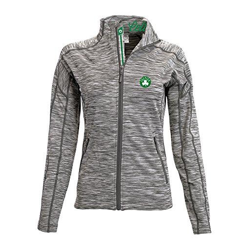 (Levelwear LEY9R NBA Boston Celtics Adult Women Atlantis Banner Stripe Full Zip Mid-Layer, Large, Cool Grey/Charcoal)