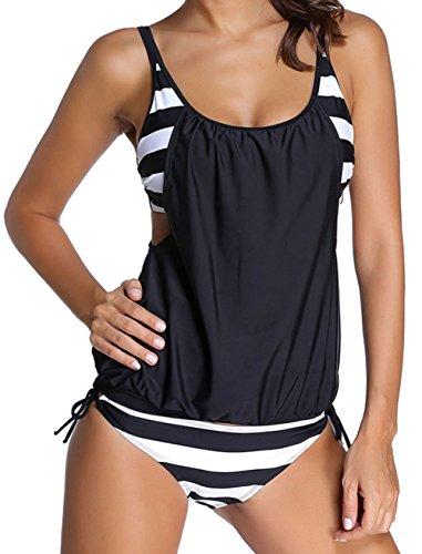 Angerella Cute Bikini Swimwear Double Up Tankini Two Pieces Swimsuits For Women