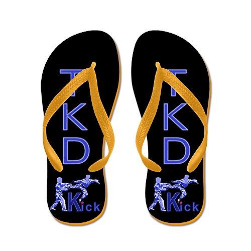 CafePress TKD Kick Blue - Flip Flops, Funny Thong Sandals, Beach Sandals Orange