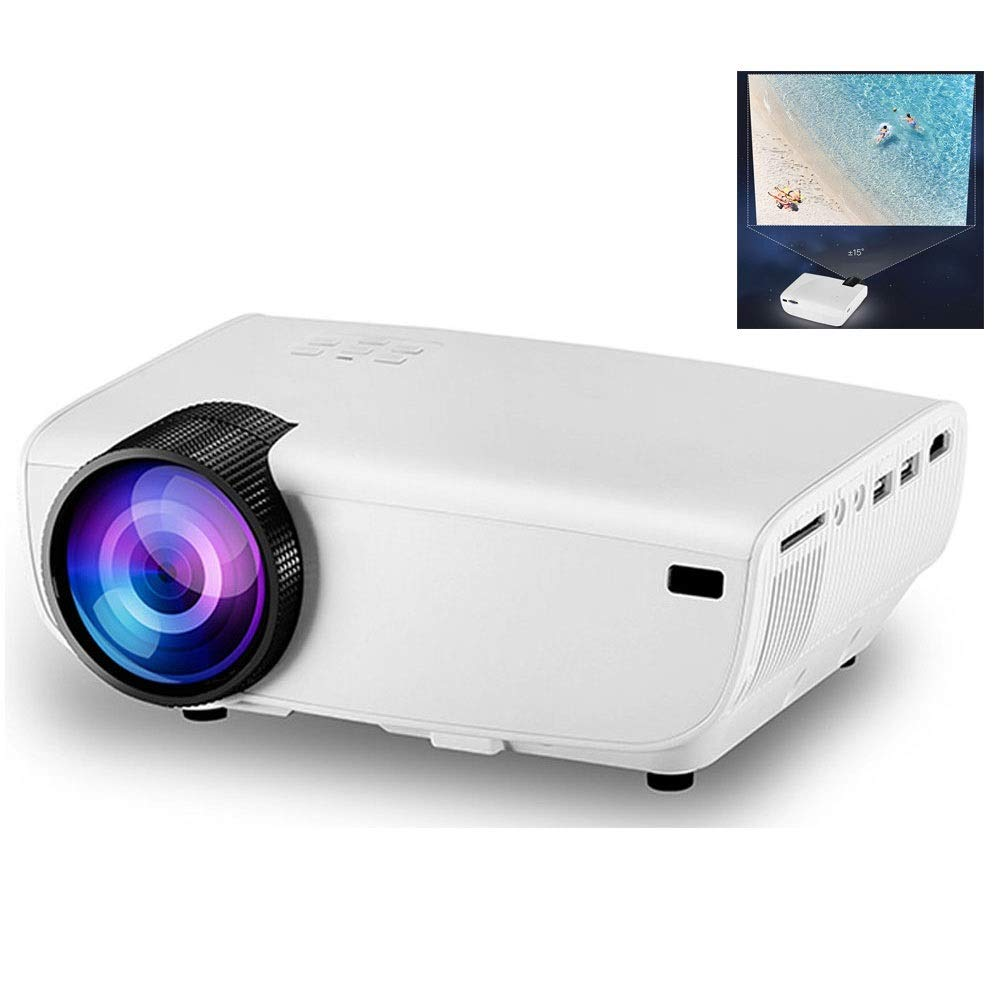 Full HD 1080P Video Projector, 3,500 Lumens Home Portable Movie Projector with Native Resolution 1080 for PC/TV/DVD/Movies/Games/Outdoor with USB/Micro SD/AV/HDMI/Input (Color : White)
