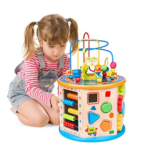 BATTOP 8 in 1 Wooden Activity Cube Bead Maze Multi-Purpose