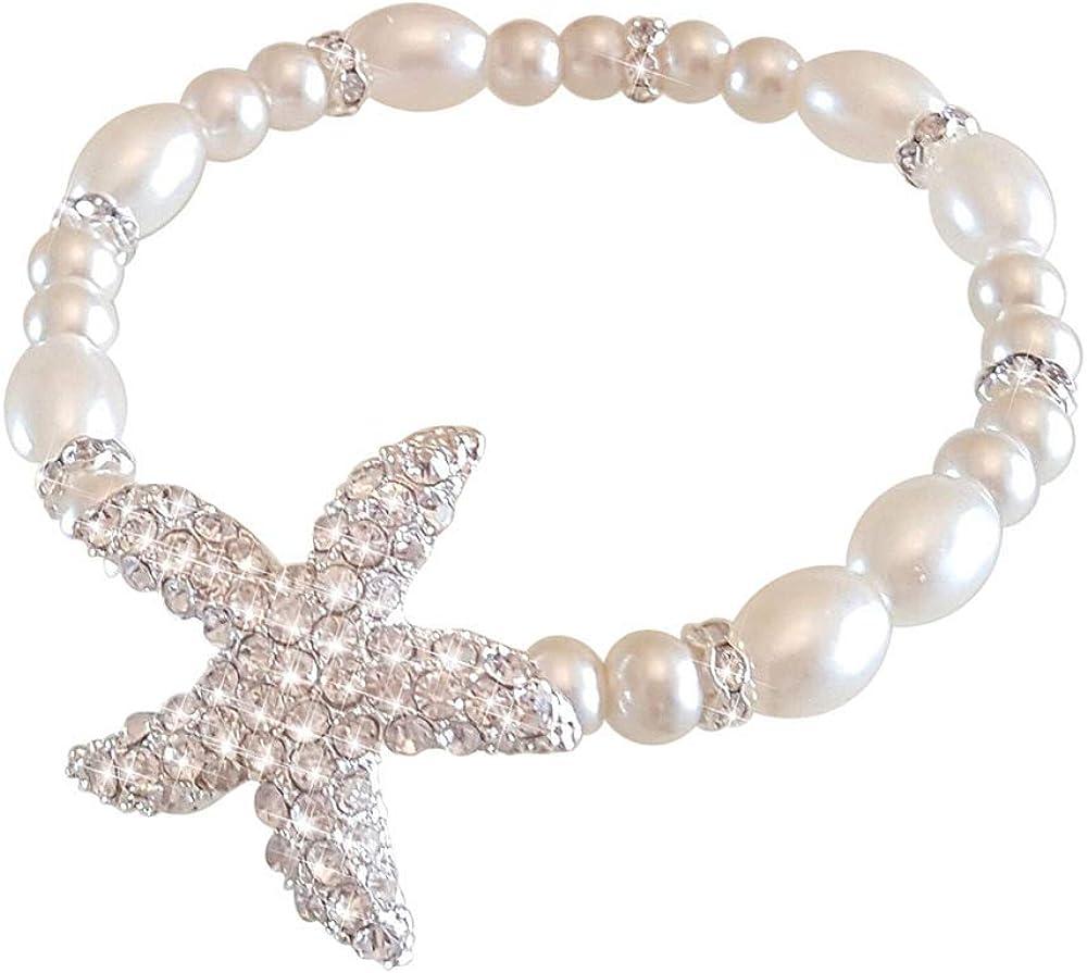 Fine Lady Bridal Hand Jewelry Crystal Hand Bracelet Starfish Hand Chain-Stretchable