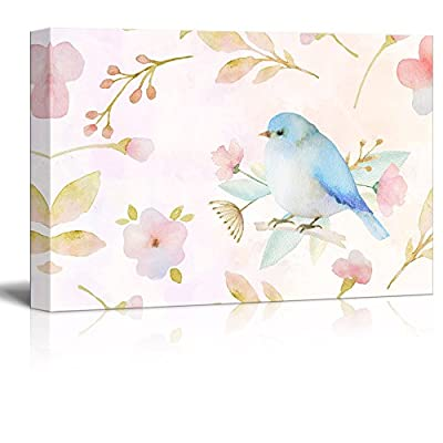 Astonishing Object of Art, Made For You, Watercolor Style Painting with Bird and Floral Patterns