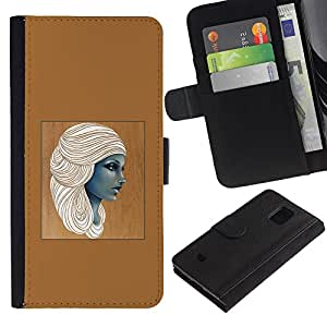 KingStore / Leather Etui en cuir / Samsung Galaxy S5 Mini, SM-G800 / Femme Brown Art