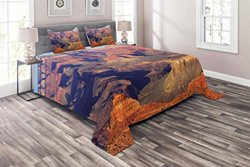 Lunarable Canyon Coverlet Set King Size, Epic South West Canyon Before Sunrise Tribal Ethnic National Landmark Wilderness Print, 3 Piece Decorative Quilted Bedspread Set with 2 Pillow Shams, ()
