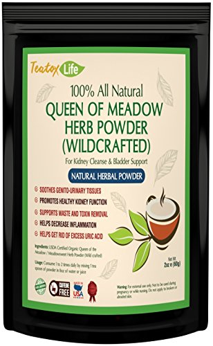 Kidney cleanse detox with meadowsweet herb powder for urinary tract health, bladder and kidneys - Organic natural herbal supplement flush formula |USDA | Made in USA