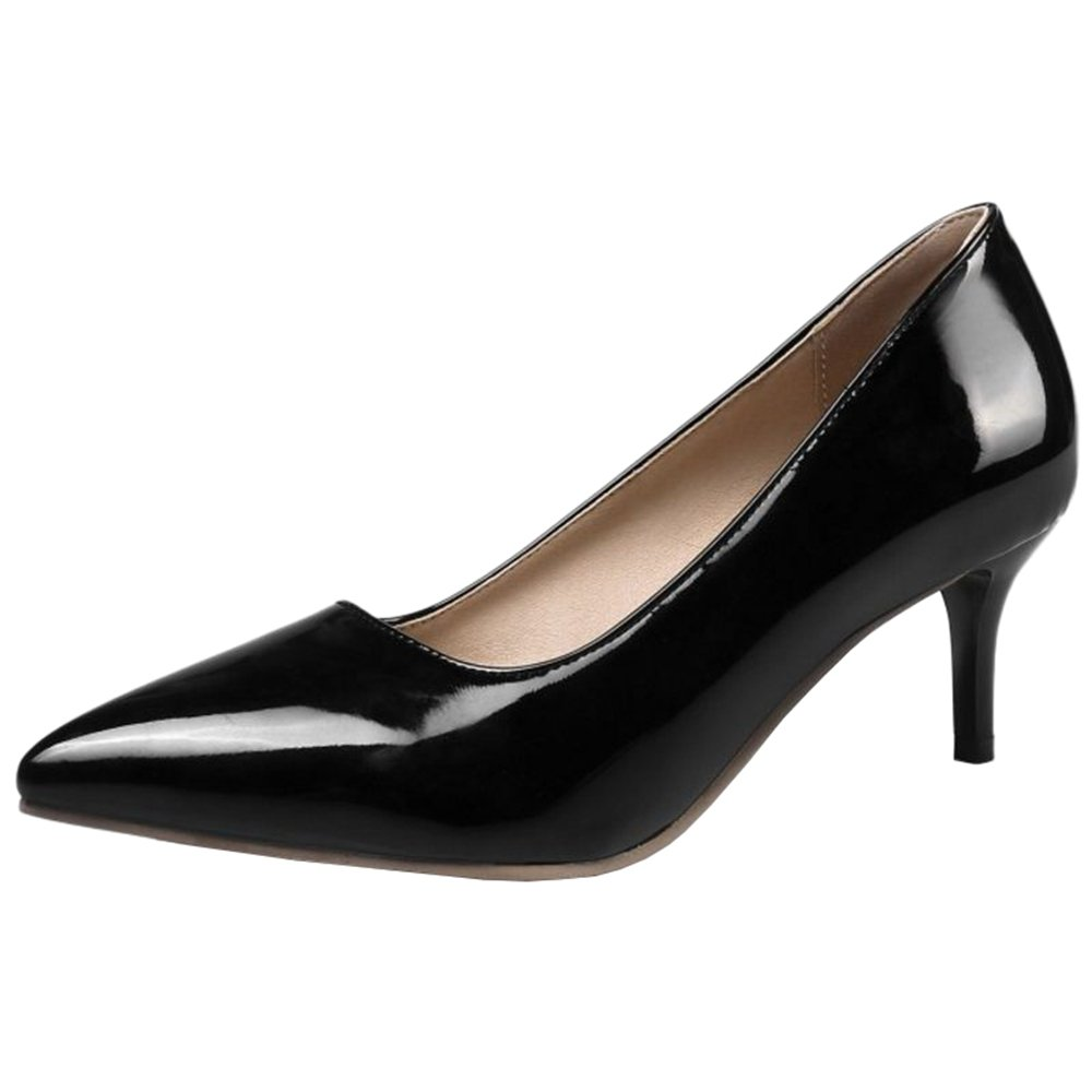 Smilice Women Plus Size US 0-13 Mid Heel Pointy Toe New Dress Pumps 6 Colors Available New B074RGCVVF 41 EU = US 9.5 = 25.5 CM|Black