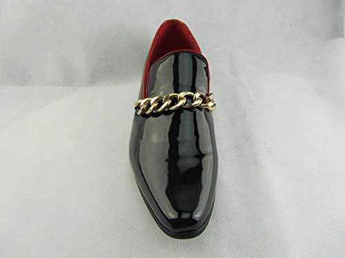 Rossellini Prince Mens Moccasin Shoes Shiny Leather Lined Gold Heel Loafer 40 6Ecj8P0Hm
