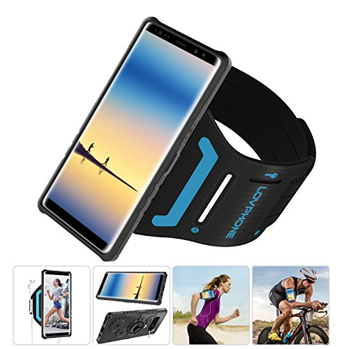 (Samsung Galaxy Note 8 Armband & Armour Case Set with QuickMount-LOVPHONE Sport Running Armband + Premium Protective Case with Kickstand for Galaxy Note 8,Soft Elastic Strap with Key Holder(Black)-L)