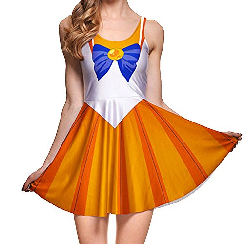 BOMBAX Girls Sailor Moon Skater Dress Stretchy Anime Cosplay Costume Mini Skirt ()