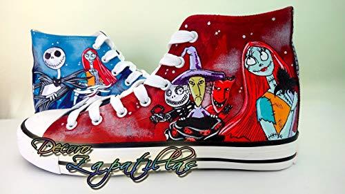 Zapatillas customizadas personalizadas lona Pesadilla antes Navidad - regalos para el - regalos para ella - cumpleaños - San Valentin: Amazon.es: Handmade