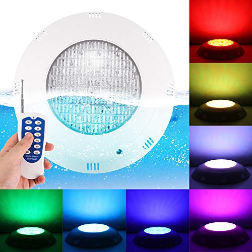 A0ZBZ Led Pool Lights 24 LED Submersible Led Pond Light IP68 Waterproof 20W RGB Swimming Underwater Lamp AC12V Multi Color with RGB Remote Controller for Pool, Pond, Waterfall, Aquarium
