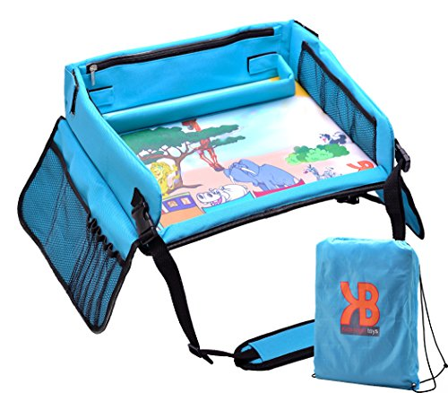 Kids Travel Play Tray – Activity, Snack, Play Tray & Organizer For Car Seat, Stroller Or Airplane traveling – Keeps Children Entertained – Portable And Foldable - With Bag + E-BOOK By KBT (Toddler Airplane)