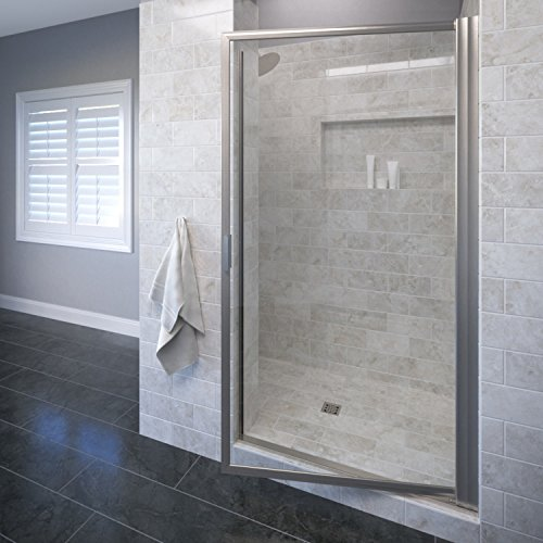 (Basco Sopora 32.75- 34.5 in. Width, Pivot Shower Door, Clear Glass, Brushed Nickel Finish)