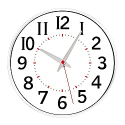 Egundo Silent Wall Clock 12 Inches Large Number Non-ticking Quartz Movement Battery Operated Modern Decorative Bedrooms Kitchen Large Clocks (Pure White)
