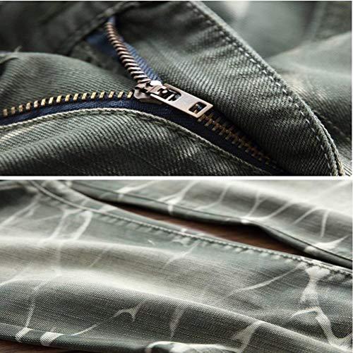 Cher Jeans Uomini Pantaloni Lavato Fashion Orifizi Casuale Giovane Rette Gamba Grün Denim Essentials Retrò Saoye wIqOTFx
