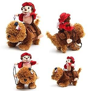 Bargain World Pet Dog Rider Costume Monkey Knight Puppy Dog Warm Coat Clothes