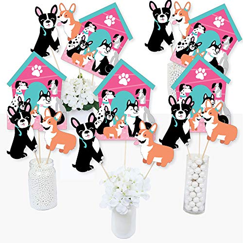 Pawty Like a Puppy Girl - Pink Dog Baby Shower or Birthday Party Centerpiece Sticks - Table Toppers - Set of 15 ()