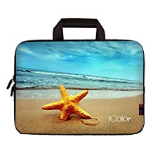 "iColor Starfish 9.7"" 10"" 10.1"" 10.2"" Tablet Laptop Neoprene Carrying Bag Sleeve Briefcase Pouch Handle Bag Tote for iPad Air, Kindle Fire HD 10, Lenovo Yoga book, 10.1 Toshiba Encore 2, PolaTab Q10.1, Dell Inspiron Mini 10 IHB10-10"