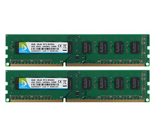 DUOMEIQI 8GB Kit (2 X 4GB) DDR3 1066MHz UDIMM 2RX8 PC3-8500 240pin CL7 Memory 1.5v Unbuffered Non-ECC Dual Channel Desktop Memory RAM Module for Intel AMD System