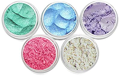 Mineral Makeup Pearl Pastel Pigment Powder Soap Dye Colorant Soap Making Soap Color Cosmetic Grade Pearl Shimmers Set Each Color Is Packed In 3 Gram Size Jar Myo 5 Piece Set. Set # 12 by Myo Makeup