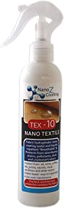 Nano Tex-10 Textile and Fabric Protector - Stain Guard Water Repellent Protect Car Upholstery. Natural Oil and Stain Protectant for Furniture Sofa Chairs Carpets Clothes (8.46 fl.oz)