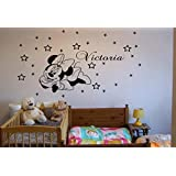 Personalised Minnie Mouse wall art sticker, Minnie Mouse children bedroom decal. (pink)