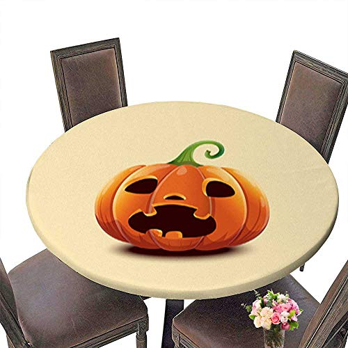Solid Round Tablecloth,Realistic Vector Halloween Pumpkin Scared face Halloween Pumpkin Isolated on l Table Cover up to 31.5